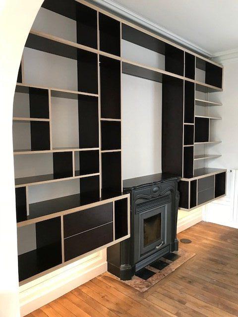 cr ation biblioth que sur mesure en ad quation avec atelier 87 vannes agencement vannes. Black Bedroom Furniture Sets. Home Design Ideas